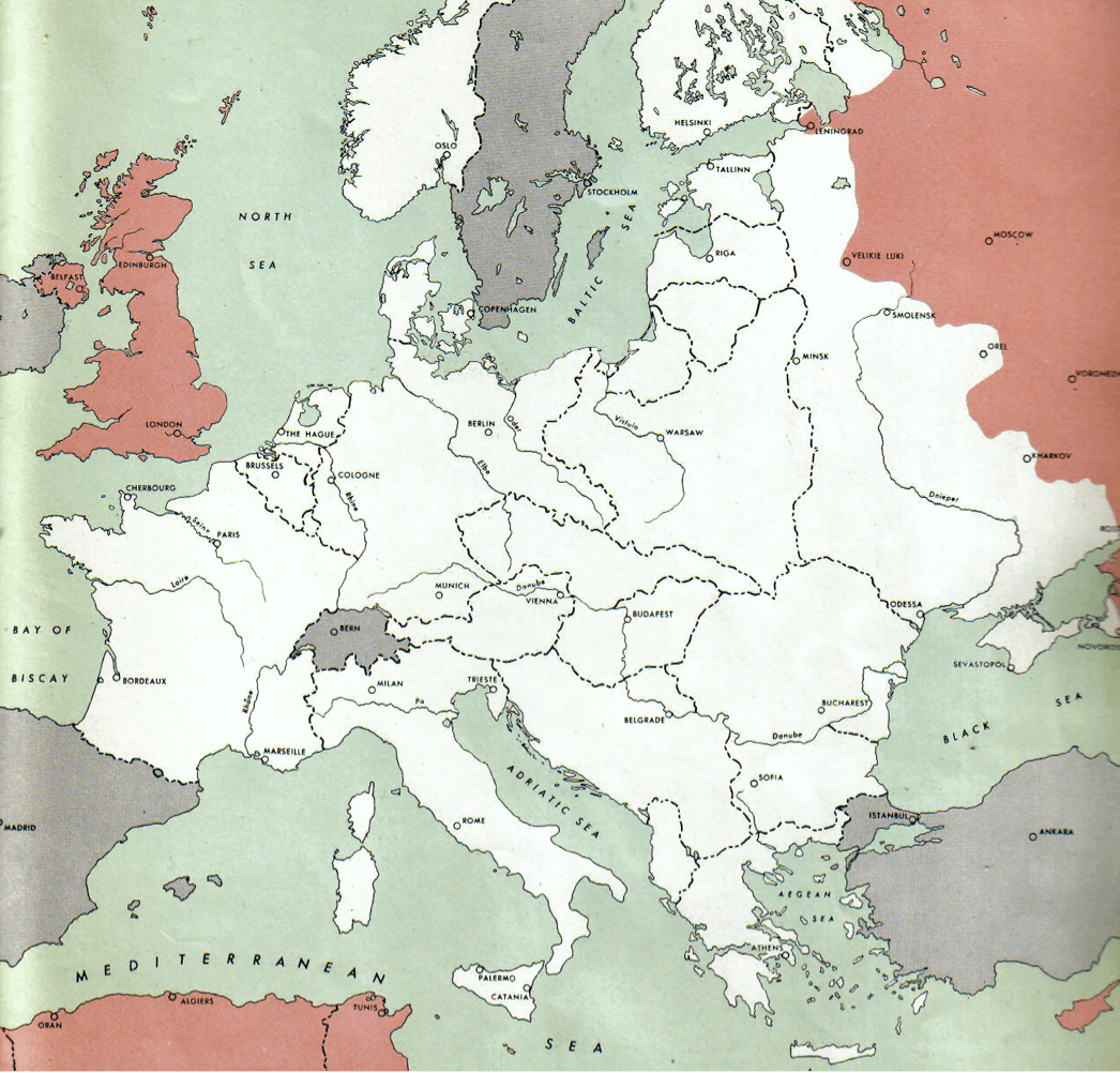 Map of the Allied Powers and the Axis Powers with neutral Switzerland, with different territories colored in green, red, purple, or white.