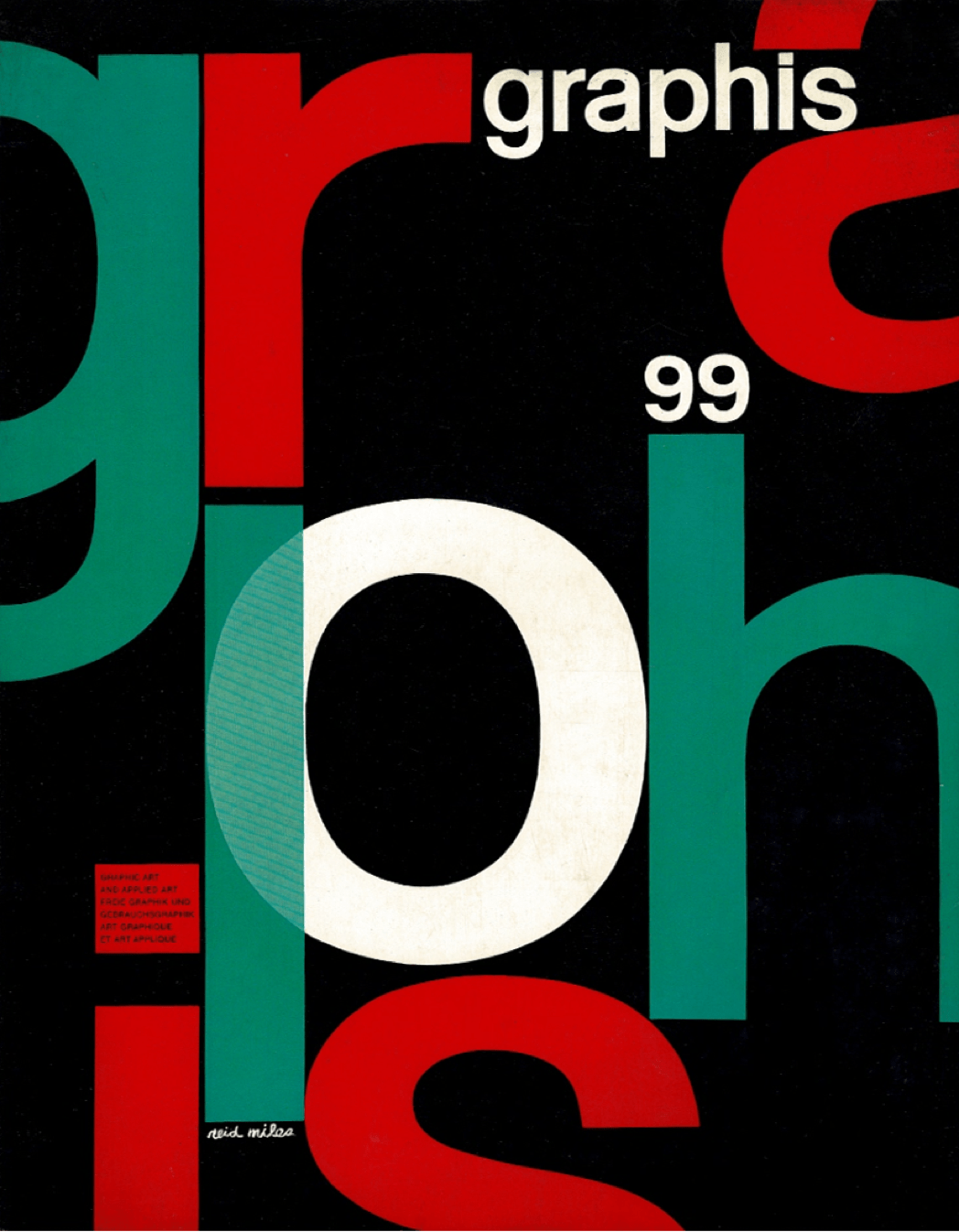 A magazine cover of various large letters set on a page in red, green, and white on a black background.